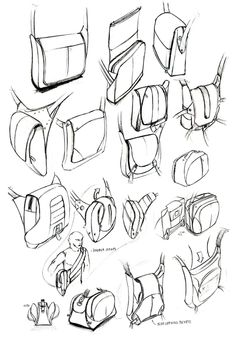 sketching + rendering by studioFAR - Soft Goods Designer, via Behance Backpack Drawing, Drawing Bag, Manga Drawing, Drawing Sketches, Drawing Ideas, Cartoon Sketches, Cartoon Bag, Sketch Design, Bag Design