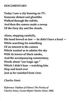 Charles Simic, Documentary