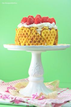 Strawberry-Chocolate Cake with Marzipan-Chocolate-Waffles