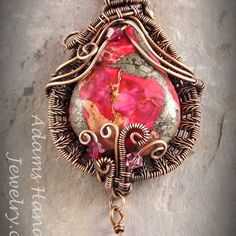 Sea sediment jasper regalite pinkish red wire-wrapped w/ czech crystals in copper patina finish