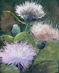 "Contemporary Artists of Florida: Palette Knife Art, ""A Thistle Day"" by Carol Schiff, 8x10"" Oil ,SOLD"