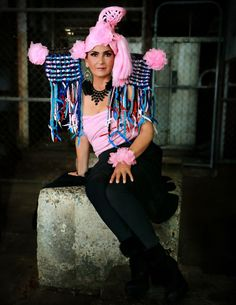 Bright pink avant-garde with crochet accessories Creative Colour, Crochet Accessories, Bright Pink, Harajuku, Color, Style, Fashion, Swag, Moda