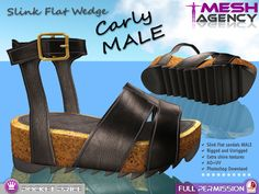 "Slink FLAT MALE Sandals ""Carly"" - POCKET PRICE - FULL PERM"