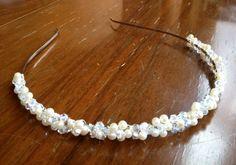Handmade pearl and crystal headband