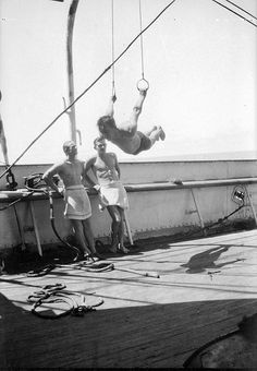 Alan Villiers, Gymnasts on the deck of the Herzogin Cecilie, Freedom Of The Seas, Vintage Sailor, Merchant Navy, Sea Captain, Old Port, Gymnasts, Herzog, Sail Away, Tall Ships