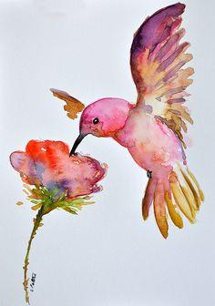 ORIGINAL pintura acuarela Ave Colibrí volando con por ArtCornerShop