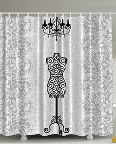 Gray Shower Curtain Female Dress Form Mannequin Black Cha