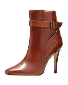 Manolo Blahnik Ribafa Buckled Ankle Boot, Medium Brown $1235.00 #ankleboots