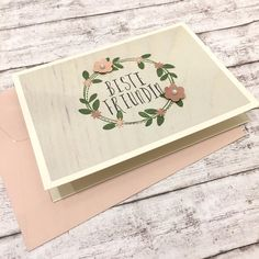 Liebe & Freundschaft - Karte BESTE FREUNDIN Blütenkranz - ein Designerstück von POMMPLA bei DaWanda