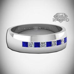 Men's Doctor Who Inspired Tardis Blue Sapphire & White Diamond Sterling Silver or White Gold Wedding Band