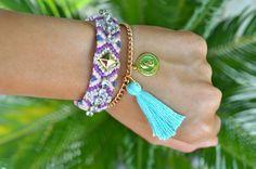 Aztec bracelet with rhinestones, Embellished friendship bracelet, Stackable bracelet, Crystal embroidered bracelet, Arm candy, Summer Gift by PearlandShineJewelry on Etsy