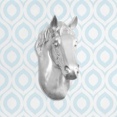 The Wrangler in Silver - Faux Horse Head Fauxidermy Animal Taxidermy Ceramic Resin Fake Plastic Decorative Wall Mount Decor Mounted Replica on Etsy, $84.97