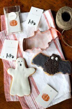 Bat & Ghost Halloween Sugar Cookies - Copper Cookie Cutters