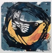 Think I can smell Spring -- by Angie Mitchell Illustration Art, Illustrations, Stamp Printing, Encaustic Painting, Wood Engraving, Linocut Prints, Bird Prints, Bird Art, Printmaking