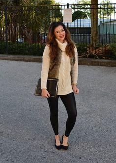 bc52d6ef63 beige TrendyFine sweater - brown faux fur fur pull amp bear vest Pull    Bear