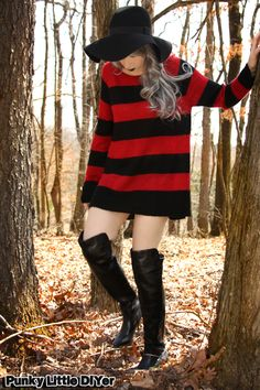 red and black stripe sweater, over the knee boots, floppy hat, gray hair, granny hair, sweater dress outfit