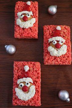 Santa Rice Krispies for the Holidays - super cute idea!
