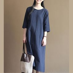Navy linen sundress long causal summer maxi dress maternity clothingThis dress is made of cotton linen fabric, soft and breathy, suitable for summer, so loose dresses to make you comfortable all the time.Measurement: Size M length 120cm / 46.8