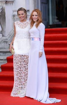 Margot Robbie in Ermanno Scervino and Rachel McAdams in Roksanda Ilincic at the London premiere
