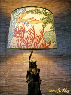 How to make a peek-a-boo lampshade (fabric on the inside)