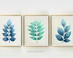 Simple Colorful Printable Art 30% off when you buy by EphericaArt Blue Artwork, Artwork Prints, Powder Room Decor, 3 Piece Wall Art, Leaf Prints, Blue Prints, White Wall Art, Online Printing Services, Online Print Shop