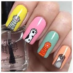 Happy Add some adorable paws and a pop of color to your next meownicure and make it extra cattastic! We love these cat nails by Cat Nail Designs, Cute Nail Art Designs, Nail Designs For Kids, Cartoon Nail Designs, Stylish Nails, Trendy Nails, Dream Nails, Love Nails, Pop Art Nails