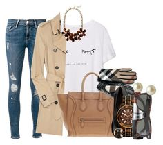 """posted on my personal but whateverrrrr"" by preppy-southern-gals ❤ liked on Polyvore featuring Frame Denim, MANGO, Burberry, J.Crew, CÉLINE, Tory Burch, Michael Kors, MAC Cosmetics and Carolee"