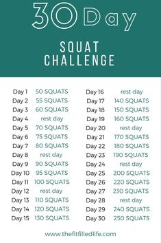 30 Day Squat Challenge- to do while watching TV