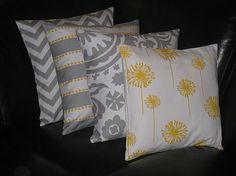 """Decorative Pillows grey Throw Pillows FOUR gray chevron, lulu stripe & dot, suzani, dandelion 18x18 inch gray 18"""" grey, yellow, white"""