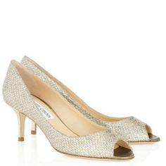 Jimmy Choo Champagne Glitter Fabric Peep Item No. Isabelgfa Pumps Size EU 39.5 (Approx. US 9.5) Regular (M, B) - Tradesy