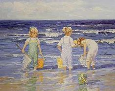 Summer Reflections by Sally Swatland - 24 x30 inches Signed impressionist beach scenes children playing contemporary american chase pothast