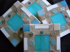 Turquoise Stained Glass Coasters Cyber Monday by breakitupdesigns