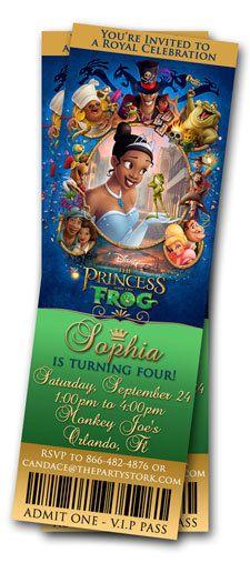 The Princess and the Frog Invitations: Printable Kids Custom Ticket Birthday Invites YOU PRINT