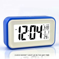 """B.N.G. 6"""" Alarm Clock w/ Date and Temperature Display, Repeating Snooze, Light-activated Sensor Light and Touch-activated Nightlight- Batteries/ USB powered (blue) Wanboton http://www.amazon.com/dp/B00IWTHA7M/ref=cm_sw_r_pi_dp_pURAub1J986JD"""