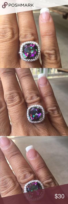 Solid Sterling silver Mystic Quartz & Zircon Ring Sterling silver 6 carat Mystic Quartz & Zircon Ring.. Zircon is a real stone NOT CZ's! Jewelry Rings