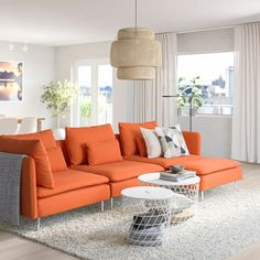 SÖDERHAMN Sectional, with chaise/Samsta orange. If you like the way it looks you have to try it! The deep seats, moveable back cushions and suspension fabric make this seating very comfortable. Söderhamn Sofa, Modular Sectional Sofa, Orange Rooms, Living Room Orange, Oranges Sofa, Living Room Sofa, Living Room Decor, Ikea Sofas, Ikea Family