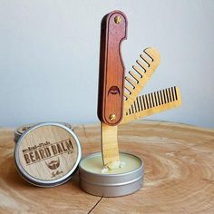 Multi-tool Beard Comb with Balm Knife - Folding Wood Pocket Travel Grooming Accessory Made of Sustainable Bamboo and Hardwood - The Trio - Blue Men Brainstorm, Moustache, Wood Comb, Beard Model, Awesome Beards, Beard Balm, Straight Razor, Cool Tools, Handy Tools