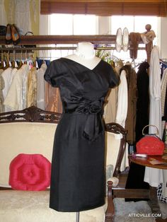 New Spring! 1950s Black Silk Cocktail Dress — at The Attic Vintage Clothing & Atticville.com.