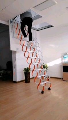 The product is well made, sturdy, practical and looks great. The scissors stairs fold into the… in 2020 Home Stairs Design, Home Room Design, Home Interior Design, Small House Design, Led Light Installation, Attic Ladder, Folding Attic Stairs, Led Light Design, House Stairs