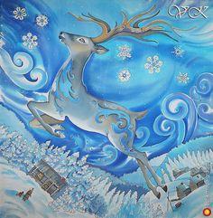 """Батик платок к новому году """"Серебряное копытце"""" - батик, авторские шарфы и платки. МегаГрад - мега-портал авторской ручной работы"""