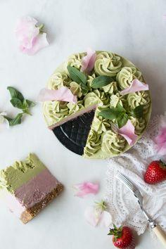 Strawberry Basil Vegan Cheesecake (grain-free)