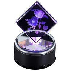 IFOLAINA 3d Laser Crystal Cube Gift Subsurface Engraved I Love You Blooming Rose with Mp3 Rotary LED Plastic Stand Multicolor ** This is an Amazon Affiliate link. Learn more by visiting the image link.