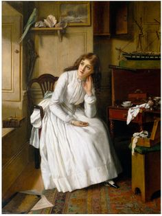 """Florence Dombey in Captain Cuttle's Parlour (1888). William Egley (English, 1826-1916). Oil on canvas. V&A.  This scene is taken from Charles Dickens' novel Dombey and Son. It depicts the teenage heroine Florence in refuge from her cruel father. The costume is meant reflect the fashion of 1848, the date of the novel's publication. """"Florence, being busy with her needle in the little parlour, was more calm and tranquil than she had been on the day preceding."""""""