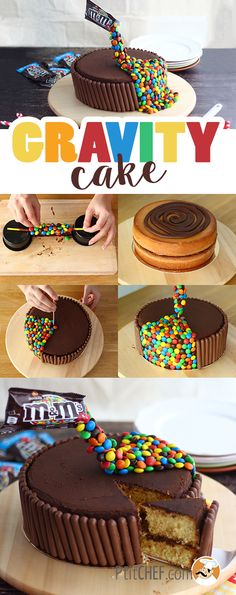 This cake will make you float! Make this recipe step by step and you'll get a cake that will blow all your friends minds! - Recipe Dessert : Gravity cake by. Anti Gravity Cake, Gravity Defying Cake, Torta Candy, Homemade Cake Recipes, Drip Cakes, Cake Toppings, Food Cakes, Cake Tutorial, Celebration Cakes