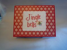 Jingle Bells hand stitched card by HMCrafters on Etsy