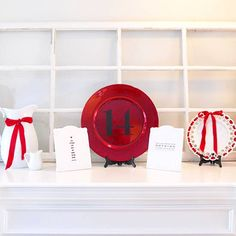Red-and-White Valentine's Mantel
