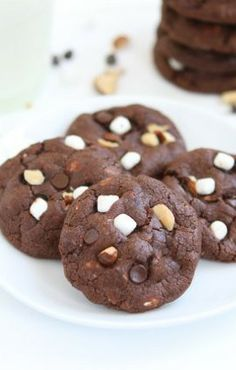 Mini Rocky Road Cookies Recipe on twopeasandtheirpod.com These cookies are little, but oh so decadent!
