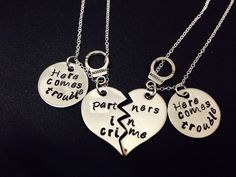 Partners In Crime Necklace - Here comes trouble - Hand Stamped Necklace - Matching Best Friends Set - BFF Keychains - Besties-Heart Keychain by Ashijewelers on Etsy