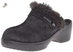 crocs Women's Cobbler Shimmer Leather Mule, Black/Black, 6 B(M) US - Crocs mules and clogs for women (*Amazon Partner-Link)