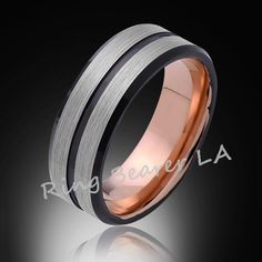 8mm,Satin Brushed Gray,,Black,Rose Gold Groove,Tungsten Ring,Rose Gold,Wedding Band,Mens Band,Comfort Fit